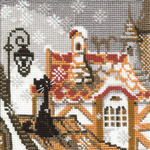 "5""X5"" 15 Count - City & Cats Winter Counted Cross Stitch Kit"