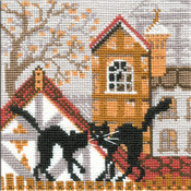 """City & Cats Autumn Counted Cross Stitch Kit-5""""x5"""" 16 Count"""