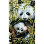 "8.75""X15"" 10 Count - Panda With Young Counted Cross Stitch Kit"
