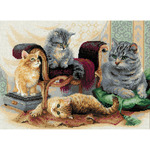 "15.75""X11.75"" 14 Count - Feline Family Counted Cross Stitch Kit"