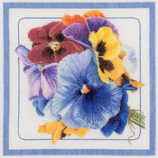 """13-1/2""""X13-1/2"""" 36 Count - Pansies On Linen Counted Cross Stitch Kit"""