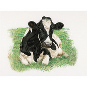 "Cow On Linen Counted Cross Stitch Kit-23-5/8""X17-3/4"" 32 Count"