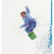 "6-1/4""X6-3/4"" 36 Count - Snowboarder On Linen Counted Cross Stitch Kit"