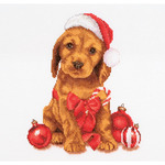 """Christmas Puppy On Aida Counted Cross Stitch Kit-12-1/4""""X11-3/4"""" 16 Count"""