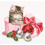 """12-1/4""""X11-3/4"""" 16 Count - Christmas Kitten On Aida Counted Cross Stitch Kit"""