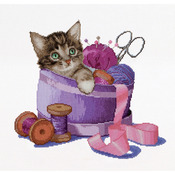 "12-1/4""X11-3/4"" 16 Count - Sewing Basket Kitten On Aida Counted Cross Stitch Kit"
