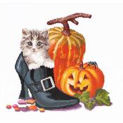 "12-1/4""X11-3/4"" 16 Count - Halloween Kitten On Aida Counted Cross Stitch Kit"