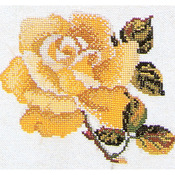 "Yellow Rose On Aida Counted Cross Stitch Kit-5-1/8""X5-1/8"" 16 Count"