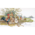 """Chickens On Aida Counted Cross Stitch Kit-26-3/4""""X14-1/2"""" 16 Count"""