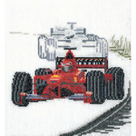 """6-1/4""""X6-3/4"""" 18 Count - Motor Racing On Aida Counted Cross Stitch Kit"""