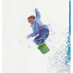 "6-1/4""X6-3/4"" 18 Count - Snowboarder On Aida Counted Cross Stitch Kit"