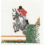 """6-1/4""""X6-3/4"""" 18 Count - Showjumper On Aida Counted Cross Stitch Kit"""