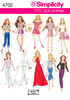 ONE SIZE - Simplicity 11 1/2 Fashion Doll Clothes SIMPLICITY-11 1/2 inch Fashion Doll Clothes