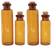 Brown Apothecary Small Glass Round Bottles - Art C