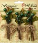 Pine Green Sugared Berry Clusters - Botanica - Petaloo