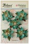 Teal Burlap Poinsettias - Textured Elements - Petaloo