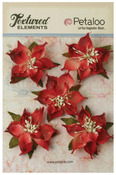 Red Burlap Poinsettias - Textured Elements - Petaloo