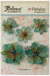 Teal Jeweled Flowers - Textured Elements - Petaloo