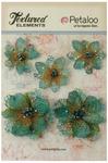 Teal Jeweled Flowers - Textured Elements - Petaloo