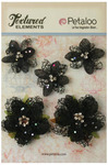 Black Jeweled Flowers - Textured Elements - Petaloo