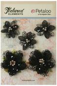 Black Jeweled Flowers - Textured Elements - Petaloo