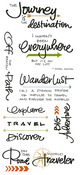 Travel Clear Big Script Stickers