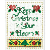 """2""""X3"""" - Christmas In Your Heart Ornament Counted Cross Stitch Kit"""