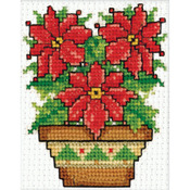 "2""X3"" - Poinsettias Ornament Counted Cross Stitch Kit"