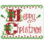 "Merry Christmas Ornament Counted Cross Stich Kit-2""X3"""