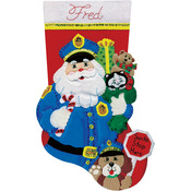 "18"" Long - Policeman Santa Stocking Felt Applique Kit"