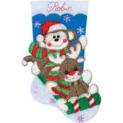 """18"""" Long - Sock Monkey Stocking Felt Applique Kit"""