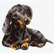 """9.75""""X9.75"""" 16 Count - Dachshund Counted Cross Stitch Kit"""