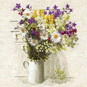 """17.75""""X17.75"""" 15 Count - Wildflowers Counted Cross Stitch Kit"""