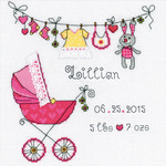 """8""""X8"""" 28 Count - It's A Girl! Birth Record Counted Cross Stitch Kit"""