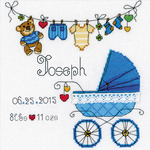"""8""""X8"""" 28 Count - It's A Boy! Birth Record Counted Cross Stitch Kit"""