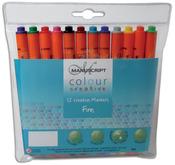 Manuscript Colour Creative Markers Fine Tip 12/Pkg