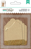 DIY Shop 2 Kraft With Gold Glitter Tags - American Crafts