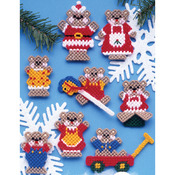 7 Count - Christmas Teddy Bears Ornaments Plastic Canvas Kit