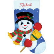 "16"" Long - Snowman With Broom Stocking Felt Applique Kit"