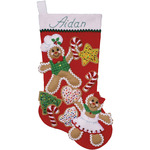 "18"" Long - Gingerbread Friends Stocking Felt Applique Kit"