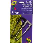 Gun Metal & Nickel - Metal Square Head Shawl Pin