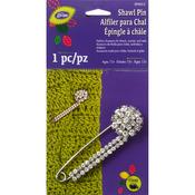 Silver - Glitz Shawl Pin W/Stone Cluster