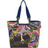 Carlotta's Cats - Shoulder Tote 21 X5 X15  Laurel Burch-Shoulder Tote: Carlotta's Cats. The brilliant hues and wonderful patterns of these carefully designed bags appeal to everyone. They are artful and useful at the same time! This 15x20-1/2x5 inch shoulder tote bag features two 26 inch handles, one large zippered compartment, one cell phone pocket, one open pocket and one inside zipper pocket. Do not wash- spot clean only. Imported.