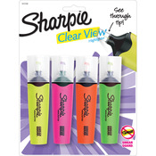 Yellow, Pink, Orange & Green - Sharpie Clear View Highlighters 4/Pkg