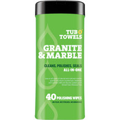 "Heavy Duty Granite & Marble Wipes - Tub O' Towels 7""X8"" 40/Pkg"