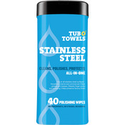 "Heavy Duty Stainless Steel Wipes - Tub O' Towels 7""X8"" 40/Pkg"
