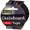 Black - Scotch (TM) Chalkboard Tape 1.88 X5yd 3M-Scotch Chalkboard Tape: Black. Write on with chalk (not included)! Erase with a tissue, cloth or eraser. Tape removes cleanly and easily. Recommended for hard, smooth surfaces such as metal, glass and plastic. Do not use on walls. This package contains 5 yards of 1-7/8 inch wide chalkboard tape. Made in USA.