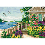 """7""""x5"""" 18 Count - Gold Petite Bayside Cottage Counted Cross Stitch Kit"""