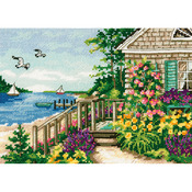 "7""x5"" 18 Count - Gold Petite Bayside Cottage Counted Cross Stitch Kit"