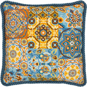 "14""X14"" Stitched In Wool - Patterns On Blue Needlepoint Kit"